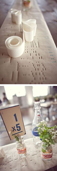 old player piano rolls as a table runner! romantic