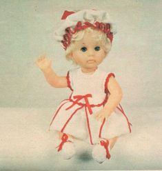 Angel top for First Love (Doll), pattern from Checkers Value, October Doll Outfits, Vintage Dolls, Clothing Patterns, Print Patterns, Larger, Doll Clothes, First Love, Barbie, October