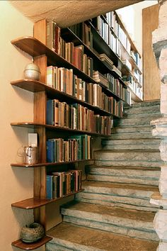 A Space Under Stair Shelves