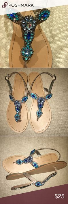 BCBGenetation Sandals Brilliant blue rhinestone BCBGeneration sandals. They are in excellent condition. Perfect for your summer vacation. BCBGeneration Shoes Sandals