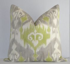 New Decorative Pillow Cover / 20 x 20 / Grey / Lime Green / Off White / Ikat On BOTH Sides - Love these! Perfect fit for my renovated living room!