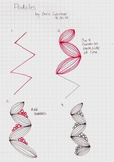 1/6, zentangle pod pattern by Chris Gerstner, CZT