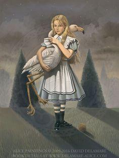 "Alice and the Flamingo - ""Alice's Adventures in Wonderland"" by David Delamare."