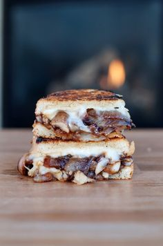 Caramelized Onion & Mushroom Brie Grilled Cheese  Recipe