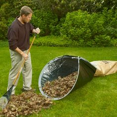 Leaf Loader Yard Clean-Up Device - must buy this Yard Games For Kids, Yard Edging, Fall Clean Up, Yard Drainage, Diy Water Feature, Drainage Solutions, Lawn And Landscape, Diy Fire Pit, Garden Spaces