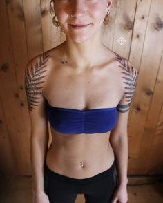 Fern Tattoo, I Tattoo, Pretty Tattoos, Beautiful Tattoos, Line Tattoos, Sleeve Tattoos, Disney Sleeve, Blackout Tattoo, Ethno Style