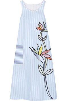 Mira Mikati - Bird Of Paradise Appliquéd Striped Cotton-twill Midi Dress - Light blue - FR