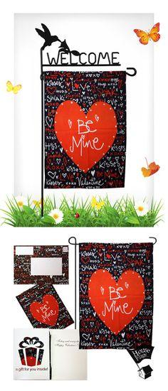 Be Mine Valentines Day Garden Flag U0026 Greeting Card Set   A Valentines Day  Greeting Card