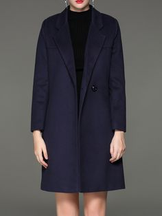 #AdoreWe #StyleWe UISWAN Dark Blue Symmetric Cotton-blend Simple Solid Coat - AdoreWe.com