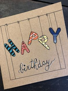 diy birthday sign The word BIRTHDAY could be written as a sign. Creative Birthday Cards, Handmade Birthday Cards, Creative Cards, Happy Birthday Card Diy, Happy Birthday Hand Lettering, Happy Birthday Letters, Happy Birthday In Calligraphy, Best Birthday Cards, Handlettering Happy Birthday