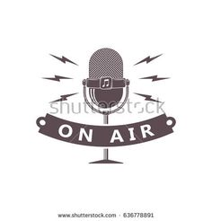 vector monochrome radio station, sound project, vocal studio, voice records, karaoke bar logo with microphone