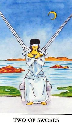 Two of Swords.  Inability to resolve conflict or make decision.