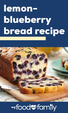 Sweeten up your family's day with our Lemon-Blueberry Bread Recipe. This Lemon-Blueberry Bread Recipe makes use of a great combination of fruit flavors. Bread Machine Recipes, Bread Recipes, Cake Recipes, Dessert Recipes, Cooking Recipes, Brownie Recipes, Blueberry Bread Recipe, Blueberry Desserts, Blueberry Loaf