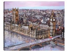 A signed limited edition boxed canvas of 150 by contemporary cityscape artist, Paul Kenton entitled Late Afternoon, Westminster Paul Kenton, Paintings For Sale, Original Paintings, Cityscape Art, London Art, Westminster, Painting Frames, Architecture Art, Art Images