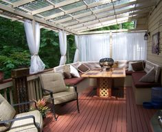 Relaxing outdoor space, My hubby and I designed and built all the furniture which includes the U-shape bench and the table. He built the awning so we could still enjoy our patio with all the rain we get here in WA. We love to sit and relax in this cozy spot. , Treehouse feel on our back deck!, Patios & Decks Design