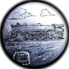 TOM MAHER HOBO NICKEL - RAILWAY LOCOMOTIVE - 1917 BUFFALO NICKEL Hobo Nickel, Old Coins, Locomotive, Art Forms, Old World, Sculpture Art, Folk Art, Carving, Paper
