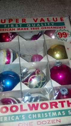Vintage Christmas Ornaments Shiny Brite Colorful in Woolworths box. I loved Woolworth's as a kid.