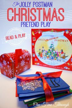 """A fun and educational pretend play idea for kids to try after reading """"The Jolly Postman"""" Christmas story. {One Time Through} #Christmasreadandplay #kids #Christmas"""