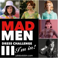 JuliaBobbin: MAD MEN Challenge 3 - You IN? I'm in and I have just the dress in mind. Mad Men Fashion, Diy Fashion, Vintage Fashion, Growing Up Girl, Sewing Blogs, Sewing Ideas, Lady And Gentlemen, Refashion, Vintage Sewing