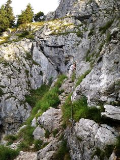 """Peter, Lukas, Bart und Jochen auf dem Klettersteig """"Dr.-Julius-Mayr-Weg"""" vom Brünnsteingipfel zum Brünnsteinhaus."""
