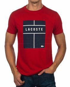Camiseta Lacoste - Roja & Marino Camisa Lacoste, Camisa Nike, Lacoste T Shirt, Lacoste Sport, Camisa Polo, Polo Shirt Style, Polo Shirt Outfits, Polo T Shirts, Best Mens T Shirts