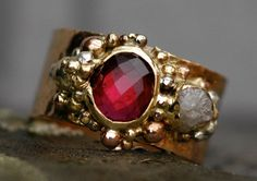 Raspberry Tourmaline and Rough Diamond Gold by Specimental on Etsy, $2850.00