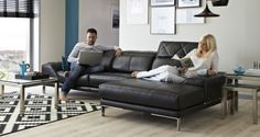 Effortlessly stylish and luxuriously laid back, the sleek lines of this expansive leather range create a modern vibe.