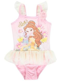 87637c20ed4b5 They'll look as sweet as any Disney Princess, when splashing around in this  adorable swimsuit. The pretty design features Belle from Beauty and the  Beast, ...