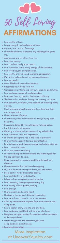50 affirmations for self-love. Inspiring resources, quotes, and more for happiness and joy at uncoveryourjoy.com