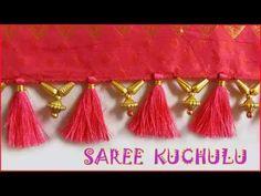 how to make designer saree kuchu using round beads / tutorial/ DIY .It's latest saree kuchu designs video, saree tassels work on sarees looks very elegant by. Hand Work Blouse Design, Simple Blouse Designs, Blouse Designs Silk, Saree Blouse Patterns, Bridal Blouse Designs, Saree Tassels Designs, Saree Kuchu Designs, Embroidery On Clothes, Saree Border