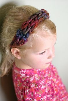 Finger knit headband!!!! Tie as many as you would like together, great for little kids!