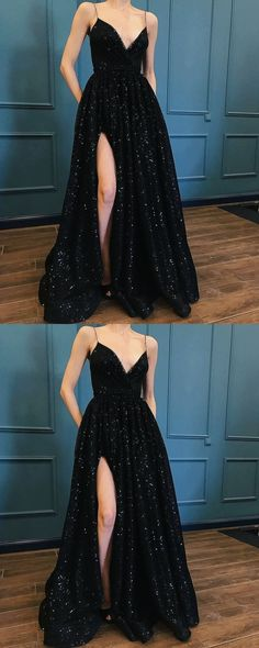 black prom dress,spaghetti straps prom gown,sexy prom dress,sequin prom dress with split M2005#prom #promdress #promdresses #longpromdress #2018newfashion #newstyle #promgown #promgowns #formaldress #eveningdress #eveninggown #2019newpromdress #partydress #meetbeauty #aline #black #spaghettistrap #sequin #split
