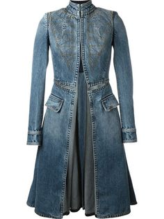 Shop Alexander McQueen stitched flared denim coat in Julian Fashion from the world's best independent boutiques at . Shop 400 boutiques at one address. Denim Fashion, Boho Fashion, Fashion Outfits, Womens Fashion, Fashion Design, Mode Bcbg, Mode Hippie, Mode Jeans, Denim Ideas