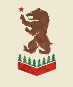 California bear, medieval flag style