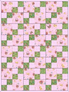 Spring Medley Pink Pre-Cut Baby Quilt Blocks Kit from Quilt Kit Shop