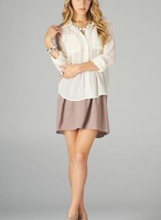 ustrendy, White Chiffon Long Sleeve Sheer Blouse with Front Pockets,  Top, sheer blouse  button up top, Chic