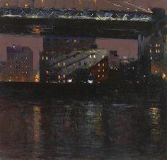 Manhattan Bridge from Brooklyn, Night   -   Andrew Gifford  British b.1970-  Oil on panel , 13,25 x 14 in. , 33,66 x 35,56 cm.