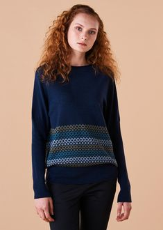 Isla Jumper Merino Wool This season's feature jumper has a relaxed yolk neckline and dolman rib sleeves. A band of Fairisle pattern adorning the lower part of jumper adds statement appeal. Designed and made in Melbourne, Australia. Fair Isle Pattern, Slow Fashion, Merino Wool, Knitwear, Jumper, Women Wear, Teal, Turtle Neck, Style Inspiration