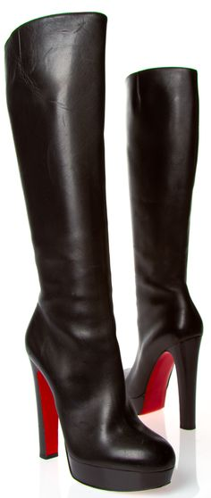 """Christian Louboutin Black Platform Boots - Absolutely stunning black boots that will become your wardrobe staple! I wore these a few times, but think they might be too tall for me since I'm already very tall. These feature a 1.25"""" front platform and 5.5"""" comfortable block heel. They do have some minor scratching on them, but are in very good condition otherwise. Interior zip closure, almond rounded toe, elastic at the calves for comfort."""
