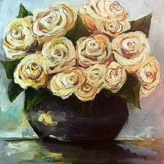 Yellow Roses Original Painting by Cari Humphry