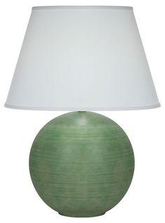 "$289, 26"" h, Pomona Table Lamp, Matte Green/White | One Kings Lane"