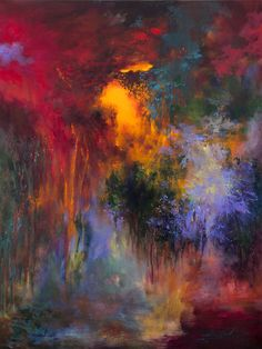 """French Artist: Rikka Ayasaki; Acrylic 2013 Painting """"Passions, Boulogne forest 33 (Painted in 2013, 100x81cm) """""""