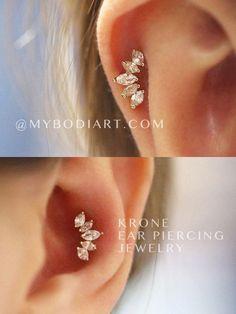 Cute Ear Piercing Ideas for Cartilage & Conch -   lindas ideas para perforar orejas -   www.MyBodiArt.com