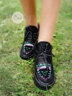 6490587a65b3 100% Hand Stitched Black Leather Moccasins With Native Moccasins Mens