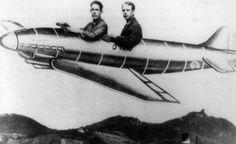 John Cage and Karlheinz Stockhausen flying a cartoon plane.