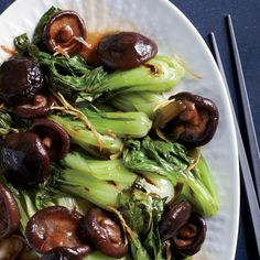 Grilled Bok Choy with Braised Mushrooms | Food & Wine