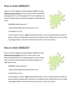 Oobleck is Dr. Seuss' sticky green slime that falls one day in a faraway kingdom, but it's also a fun, FREE science lesson for young children that teaches them about solids and liquids. Warning - it's addictive!