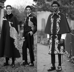 Alexander McQueen 2017-2018 Fall Autumn Winter Mens Lookbook Presentation - Milano Moda Uomo Collezione Milan Fashion Week Italy - 1700-1800s Furry Shaggy Outerwear Coat Poncho Cloak Cape Robe Suit Blazer Tuxedo Stripe Jacket Ornaments Decorative Art Embroidery Peacock Feathers Paisley Belted Waist Velvet City Map Print Silk Satin Brocade Mandarin Collar High Lapel Chinese Changshan Changpao Dagua Polka Dots Bootleg Bootcut Tapered Pants Trousers Pin Accessory Chain Newsboy Flat Baker Boy…