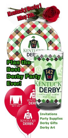 The 142nd Run for the Roses is approaching fast. Start your plans for the Best Derby Party Yet! Start with an exciting invitation, your guest are sure to notice. We have all the official art and party supplies. Don't forget party favors for your guest and throw in a few balloons to make it even more festive. Derby day is not complete without Mint Juleps, and we have you covered in that department too! Julep cups, mixes, towels and more. Who doesn't love a great Kentucky Derby Party!!!