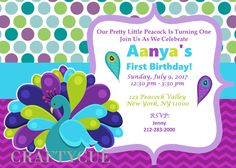 Peacock Invitation - Peacpcl Birthday Invitation by CraftyCue on Etsy